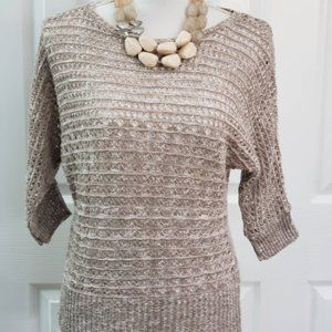 Taupe/Silver Mesh Sweater Ruby Rd Petite SZ S